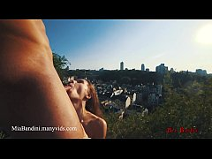Outdoor sex in public panoramic view with cumsh...