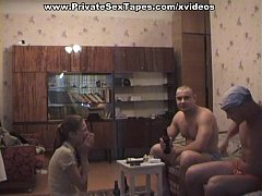 Two men testing the body of sexy amateur girlfr...