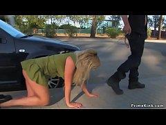 Blonde is public d. in underwear