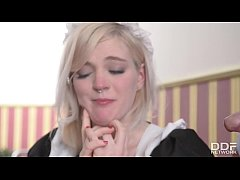 Horny British Maid gets Deepthroated and gagged...