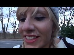 amateur blowjob with cumwalk to the bakery watc...