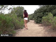 Brooke Haze takes a break from hiking to suck a...