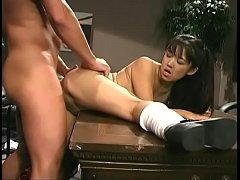 An asian vixen fucks and jerks a guys load into...