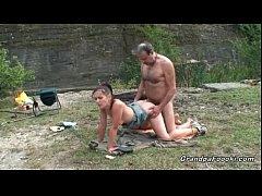 Mature guy fucks hot babe