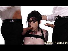 Tattooed punk slut jizzed