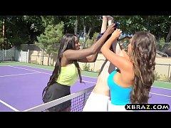 One black one white MILF tennis babes share a b...