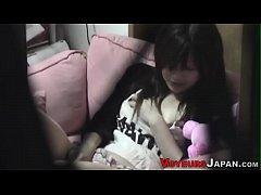Japanese babe toys pussy