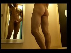 Solohaze shows off his smooth ass and hard hard for a hotel show in front of a mirror