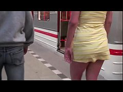 Public subway train sex threesome orgy with a b...