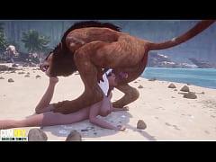Busty bitch Breeds with Furry on the beach | Bi...