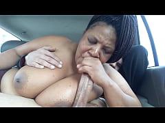 Big titty black bitch nervous car head