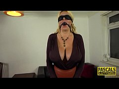 Bound and gagged busty submissive milf