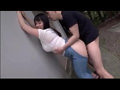 Plump Japanese teen with ripped jeans loves get...