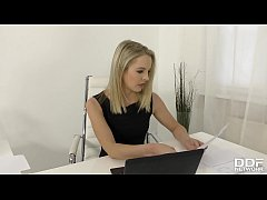Hot hardcore office sex threesome with blonde b...