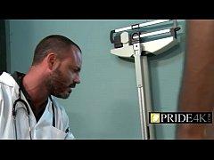 Kinky gay doctor checking royal black rod