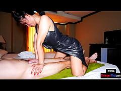 Mature amateur Asian MILF deepthroat massage bl...