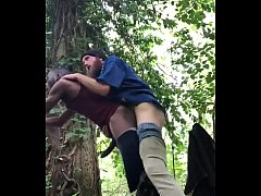 Barebacking white dick in the woods