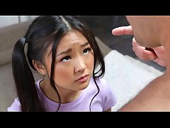 Tiny asian schoolgirl gets caught messing aroun...