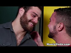 Closeup gaysex action with two hunky dudes