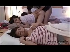 Asian schoolgirl fucked next to sleeping mother