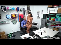 Ebony shoplyfter fuck hard by white cock