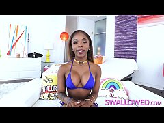 SWALLOWED Sexy ebony teen loves to suck and swa...
