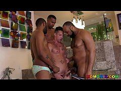 Needy White Boy Roughed by 3 Black Dicks - Nic ...
