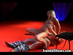 Hot blonde fucks at strip show