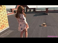 Sexy Student on the Roof Passionate Blowjob and...
