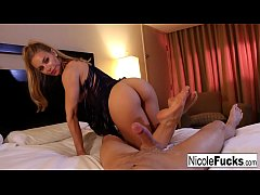 Hot Nicole uses her strong grip & oral powers to make him cum
