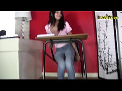 Real female pee desperation wetting her jeans