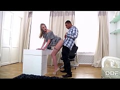 Tall Russian Teen luxury Secretary gets Blacked...