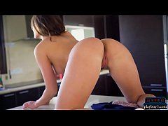Perfect teen gets naked in the kitchen after sh...