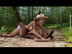 Lesbian big tits futanari cowgirls having three...
