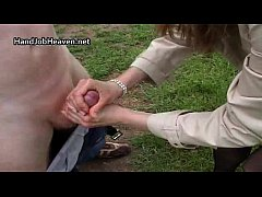 Outdoor hand and blowjob from hot milf