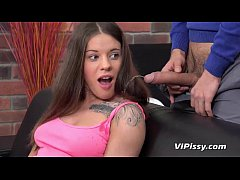 Horny babe Lita takes a mouthful of cum and pis...