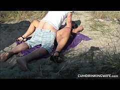 Slutwife Marion gangbanged by strangers on publ...