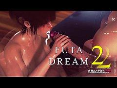 Big tits babe dreaming about a futanari anal se...