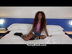 TeenyBlack - Petite Ebony Does Splits While Rid...