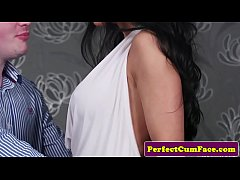 Bigtitted english babe spunked on after bj