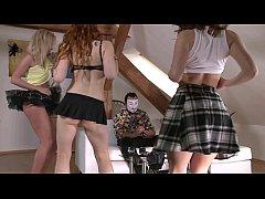 No Panties Upskirt Girls Teasing a Poor Guy to ...