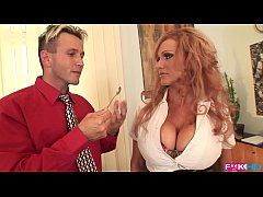Busty redhead Sharon Pink is a dream secretary ...