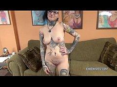 Tattooed hottie Tank is blowing an old dude she...