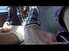 Japanese woman, Maki Hojo sucks dick in a car, uncensored