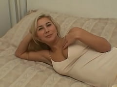 Horny blonde babe fucks an old man
