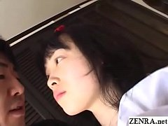 Japanese cosplay teen with hairy pussy licked a...