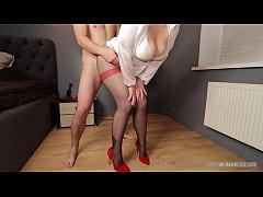 Secretaty thighjob sexy legs in pantyhose and high heels