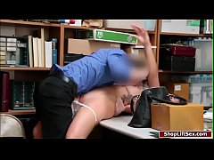 Hot shoplifter forced to fuck officer