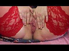 Mature hairy pussy with a wet hole close up, mi...