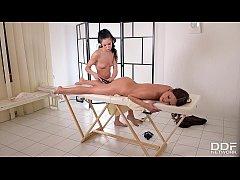 Orgasmic massage by lesbian vixen Roxy Dee for ...